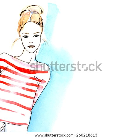 Watercolor blond girl , vector - stock vector