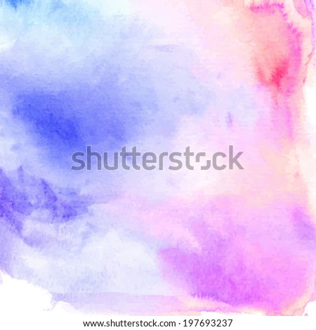 Watercolor blue and pink background - stock vector