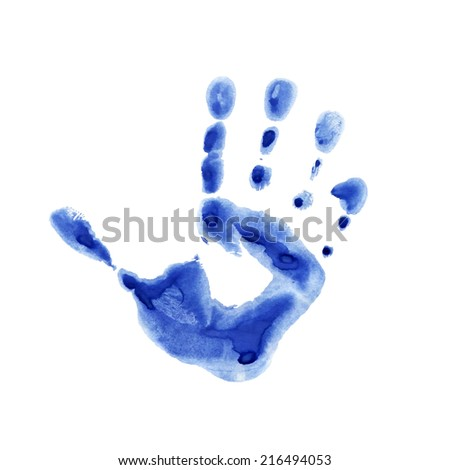 Watercolor blue print of children palm - stock vector