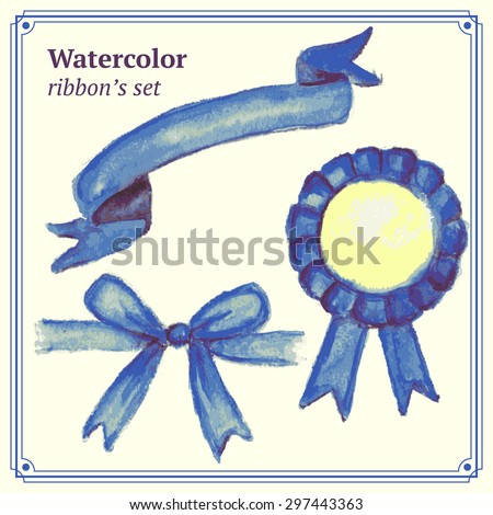 Watercolor blue  ribbons set in vintage style, vector  - stock vector