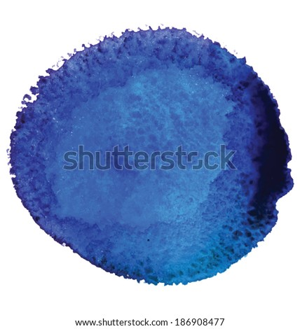 Watercolor blue spot. Vector illustration. - stock vector
