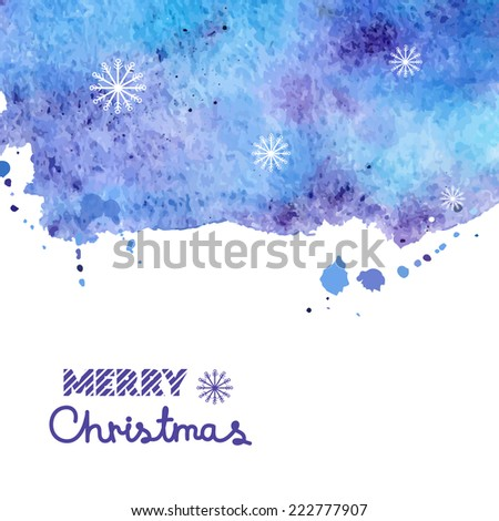 Watercolor blue vector background with snow, Christmas illustration with space for text - stock vector