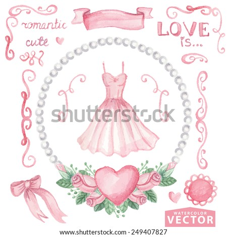 Watercolor bridal shower,wedding set.Pink dress and Floral group of pink roses,pearls,heart.Cute vintage elements,swirls,text.Hand drawing painting.Vector for invitation,card,template. - stock vector