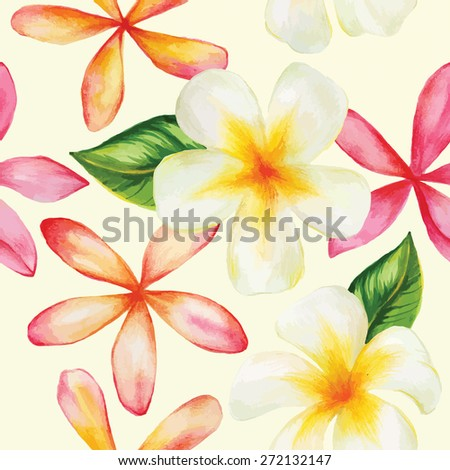 Watercolor bright colors. Seamless pattern. Hand drawing. Bali. Thailand. - stock vector