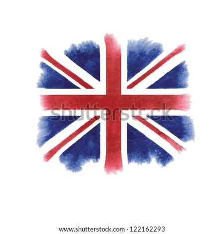 Watercolor British flag - stock vector