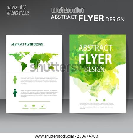 watercolor brochure, flyer template - stock vector