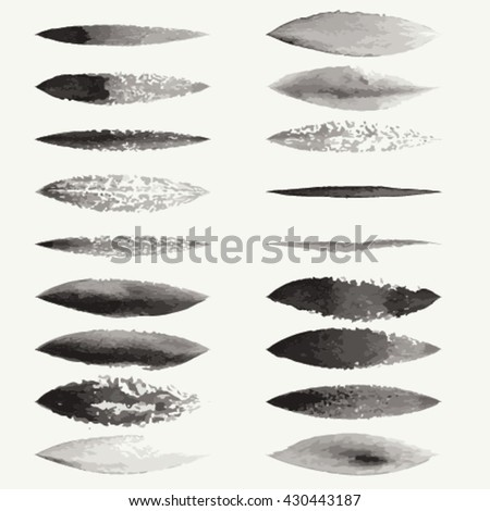 Watercolor brush strokes, Vector watercolor stains, EPS10  - stock vector