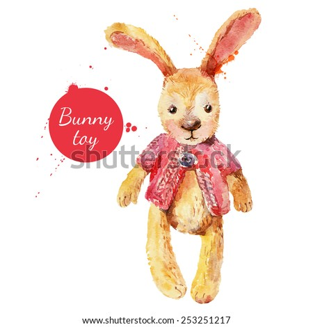 Watercolor bunny toy. Vector illustration for greeting card - stock vector