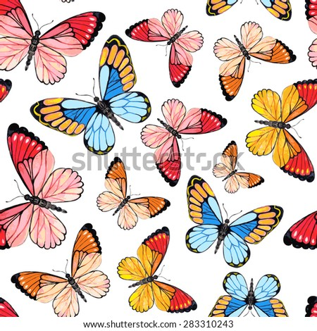 Watercolor Butterflies Background. Hand Drawn Seamless Pattern. Vector Illustration. Design for wedding and greeting cards, printing on fabric. - stock vector