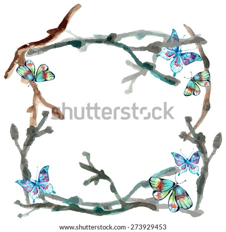 Watercolor butterfly and branch background over white, Vector - stock vector