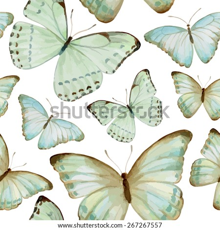 Watercolor butterfly seamless pattern. Ornament theme for your design - stock vector