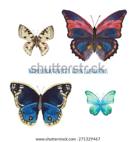 Watercolor butterfly set. Various isolated butterfly hand drawn with aquarelle. Wildlife vector  clip art - stock vector