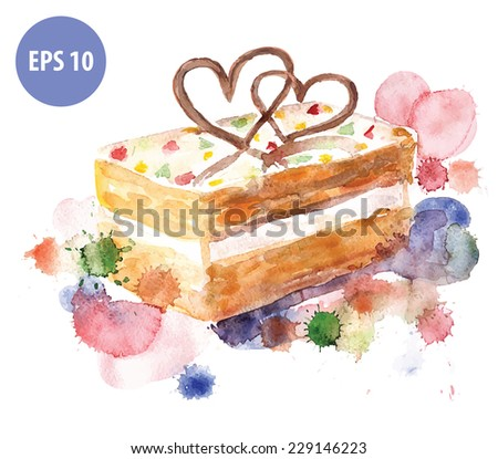 watercolor cake, with colorfull spot. watercolor food - stock vector
