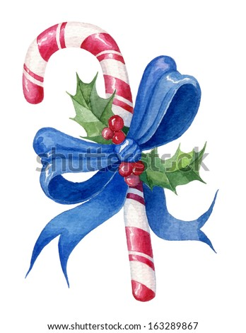 watercolor candy cane with a blue bow and holly vector. bright design element for design holiday. - stock vector