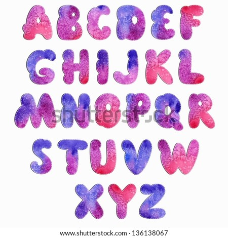 Watercolor Cartoon Vector Font. Decorative letters. - stock vector