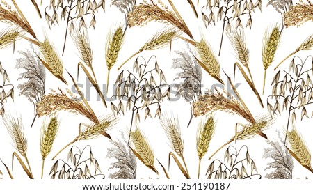 Watercolor cereals. Wheat, millet, barley, rye, oats and rice. Vector seamless pattern - stock vector