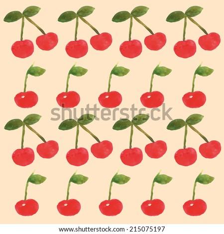 Watercolor cherry pattern - stock vector