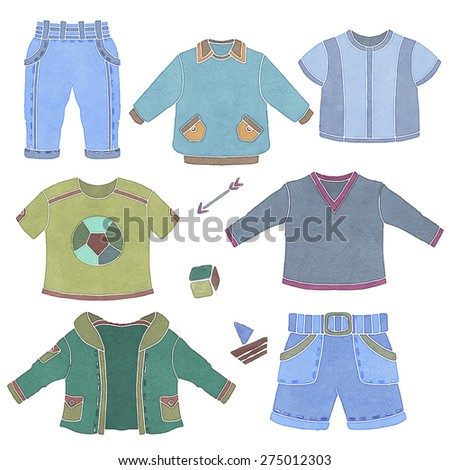 Watercolor children, little boy clothing, toys set isolated on white background hand drawn illustration - stock vector