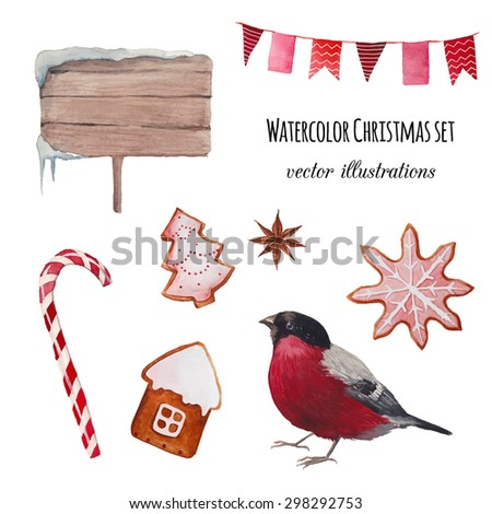 Watercolor Christmas set. Hand drawn bullfinch bird, striped candy, ginger bread, snowy sign, party flags garland isolated on white background. Vintage vector objects collection for holiday design - stock vector