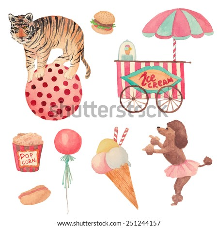 Watercolor Circus set. Hand drawn vintage objects: ice cream, air balloon, pop corn, hot dog, hamburger, tiger on ball and trained dog. Vector design elements - stock vector