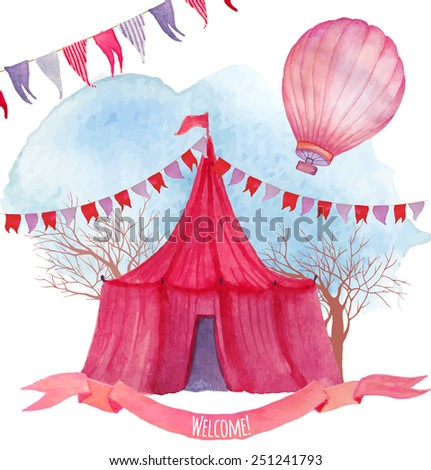 Watercolor circus vector illustration. Hand drawn background with hot air balloon, flags garlands, vintage ribbon and marquee. - stock vector