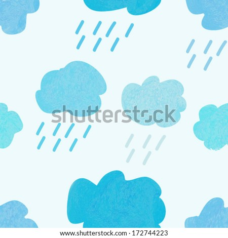 watercolor cloud background. rainy background. seamless pattern background. teal background. vector background. - stock vector
