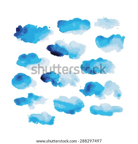 Watercolor clouds for your design. Vector illustration - stock vector