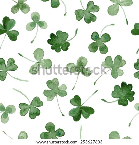 watercolor clover seamless vector pattern.  hand draw leaves for St Patrick's day - stock vector