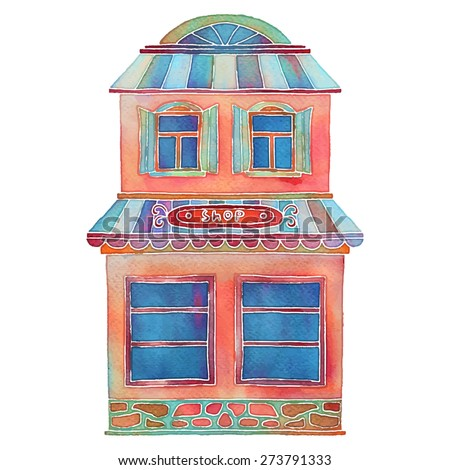 Watercolor colorful cartoon building, shop, house exterior closeup isolated on white background - stock vector