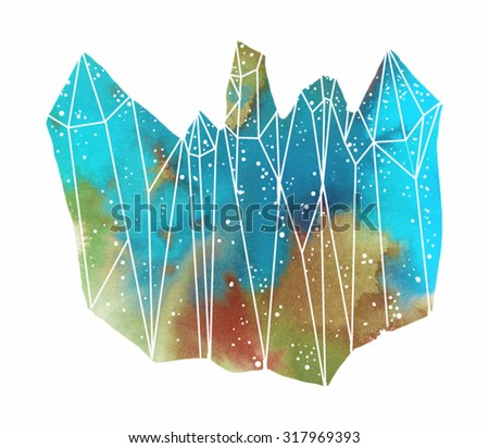 Watercolor colorful gemstone on the white background - stock vector