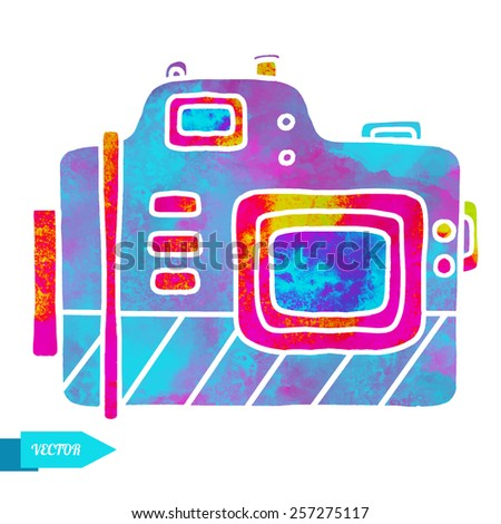 Watercolor colorful icon photo camera closeup isolated on white background  - stock vector