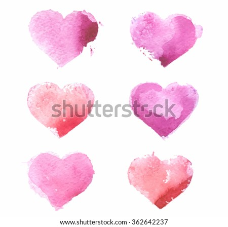 Watercolor colorful red pink hand drawn paper texture isolated hearts set on white background. Wet brush paint art design element for greeting card, invitation, decoration, scrapbook, valentines day - stock vector