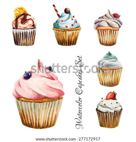 Watercolor cupcakes set with different type of cupcakes: strawberry, blueberry, chocolate. citrus, raspberry. Isolated. Easy to use for different design of menu, advertisement, cafe etc - stock vector