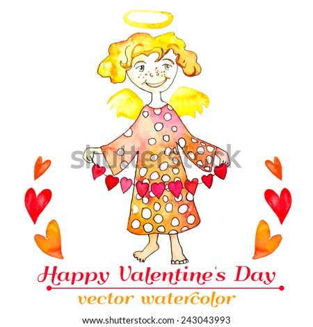 Watercolor Cupid with hearts. Watercolor. Angel with a garland of hearts. Valentine'S Day.Vector. - stock vector