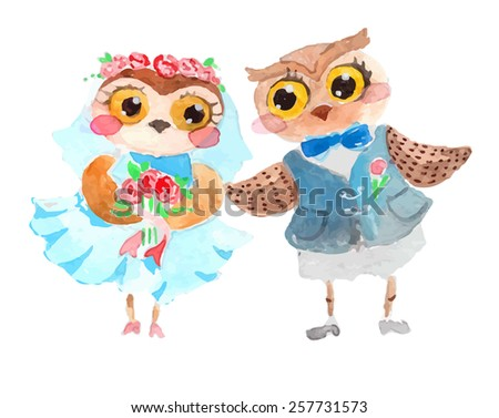 Watercolor cute owls over white - stock vector