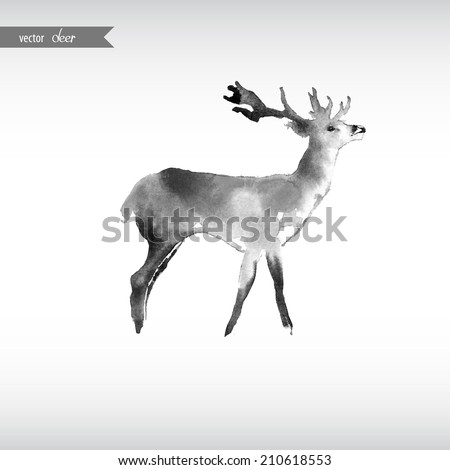Watercolor deer. - stock vector