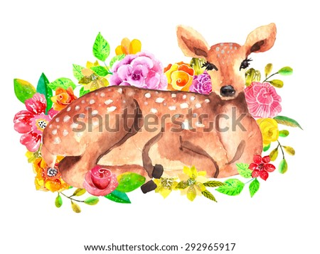 Watercolor deer with flowers over white, Vector - stock vector