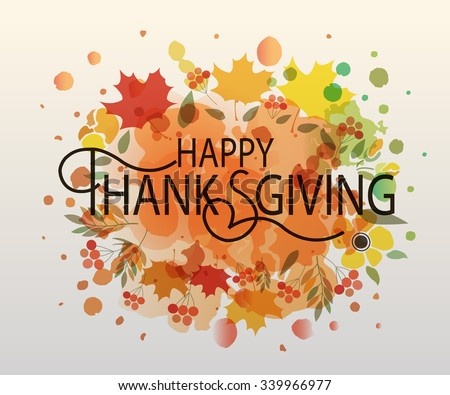 Watercolor design style Happy Thanksgiving Day logotype, badge and icon. Happy Thanksgiving Day logo template. Thanksgiving Day card template. Happy Thanksgiving banner, flyer - stock vector