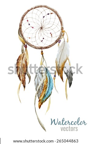 watercolor, Dreamcatcher, boho chic, ethnic, drawing - stock vector