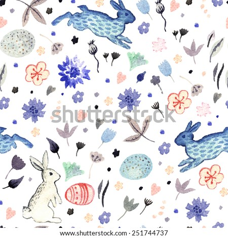 Watercolor Easter pattern with flowers, eggs and rabbits ...