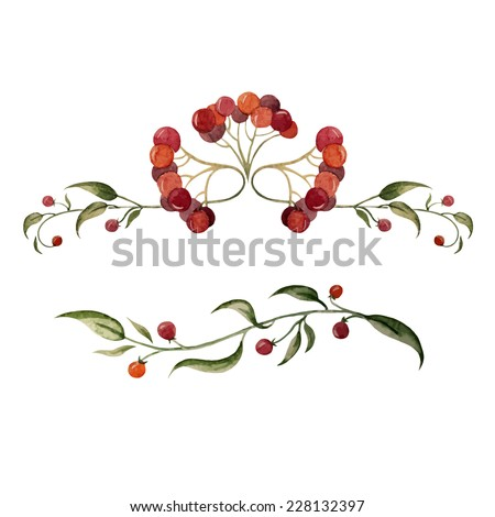 watercolor, element, berry - stock vector
