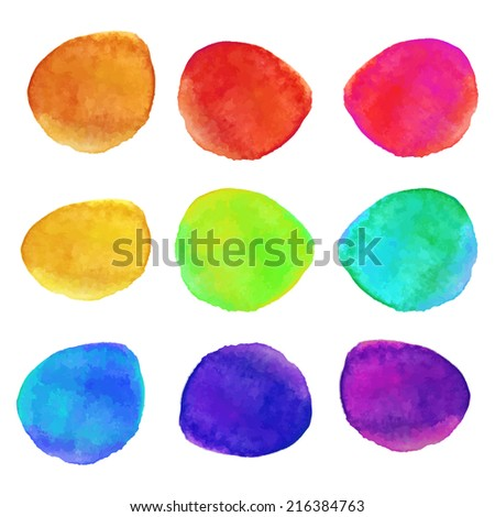 Watercolor elements for design set - stock vector