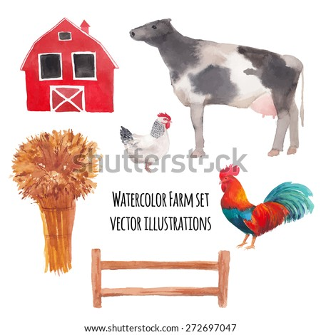 Watercolor farm animals. Hand drawn vector rabbit, cow, hen, rooster isolated on white background. Set of artistic ranch animals silhouettes - stock vector