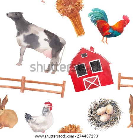 Watercolor farm pattern. Seamless texture with hand drawn vectoreggs nest, cow, hen, rooster, rabbit, farm house on white background.  - stock vector