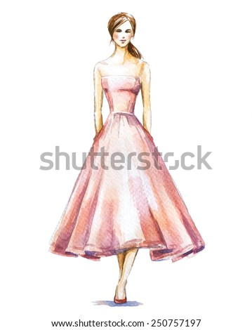 Watercolor fashion illustration, girl in a dress.  Vector illustration. - stock vector