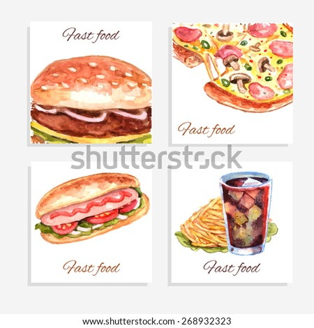 Watercolor fastfood cards set with sandwich pizza hamburger and soda drink isolated vector illustration - stock vector