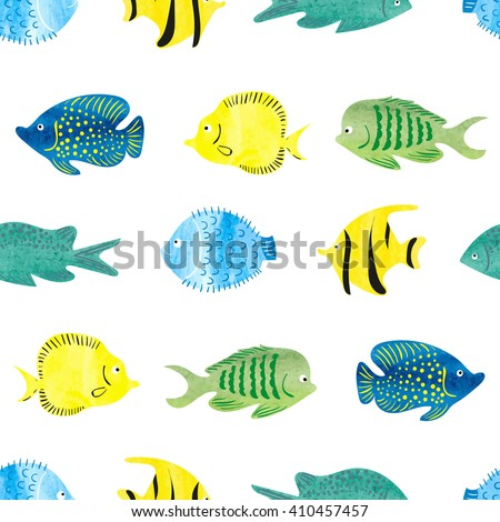Watercolor fish seamless pattern. Tropical abstract fish isolated on white background. Colorful vector wallpaper.  - stock vector