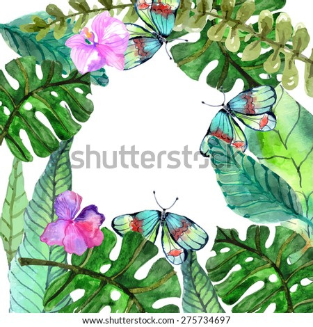 Watercolor Floral background with Tropical orchid flowers, leaves and butterflies for beautiful natural design, Vector - stock vector