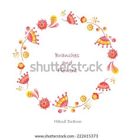 Watercolor floral frame. Bright illustration, can be used as creating card, invitation card for wedding,birthday and other holiday and cute summer background.  - stock vector