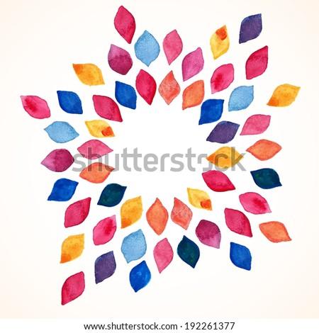 Watercolor floral frame. Design template. Vector illustration  - stock vector